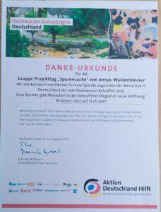 Danke Urkunde Aktion Deutschland hilft